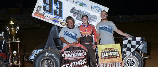 Sheldon Haudenschild along with his crew celebrate their victory Monday night during Ohio Sprint Speedweek at Wayne County Speedway. (Mike Campbell Photo)