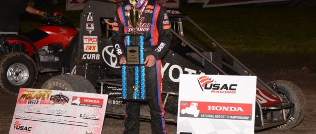 Tanner Thorson following his first career USAC Honda National Midget Car victory. (Bill Miller Photo)