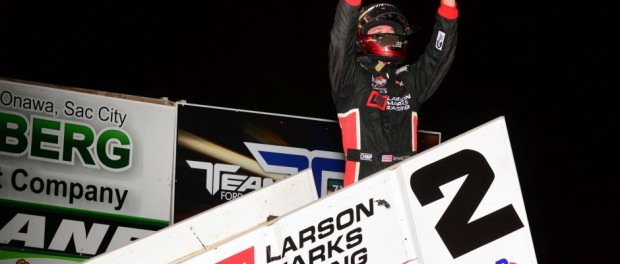 Shane Stewart won the World of Outlaws event at the Crawford County Speedway In Denison, IA. on Friday night. (Doug Johnson Photo)