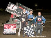 (l to r) Second Place Cory Turner, winner Chris Jones, and third place Mitch Brown following Saturday night's Southern Ontario Sprints feature at South Buxton Raceway. (James MacDonald / Apexonephoto)