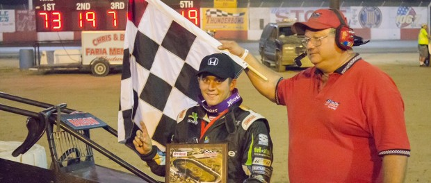 Brady Bacon in Victory Lane at Tulare (Collin Markle Photography)