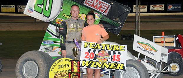 Luke Cranston captured Saturday's URSS vs. Precise Racing Products DCRP Sprint Car portion of the Seventh Annual Steve King Memorial at Dodge City Raceway Park. (Lonnie Wheatley photo)