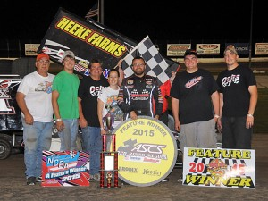 Tony Bruce, Jr., won the NCRA vs. ASCS Red River Region portion of Saturday night's Seventh Annual Steve King Memorial at Dodge City Raceway Park.  (Lonnie Wheatley photo)