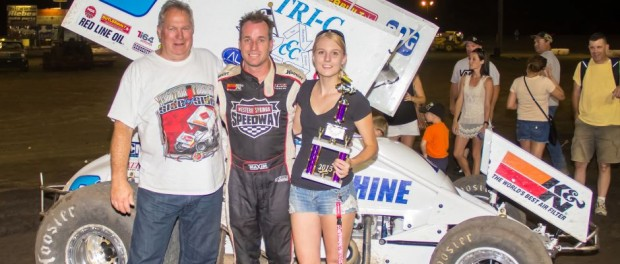 Jonathan Allard in victory lane following his feature win on Friday night at Silver Dollar Speedway. (RCM Design Photo)