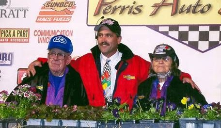 Perris Auto Speedway promoter Don Kazarian with Bill and Evelyn Pratt when they were Grand Marshal's for the Oval Nationals in the early 2000's.