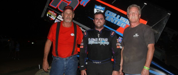 Back in the saddle and back in Victory Lane, Sam Hafertepe, Jr. topped the ASCS Red River Region at the Outlaw Motorsports Park. (ASCS / Richard Bales)
