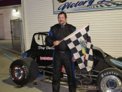 Doug Dietsch in victory lane following his victory Friday at Spartan Speedway. (Bob Buffenbarger Photo)