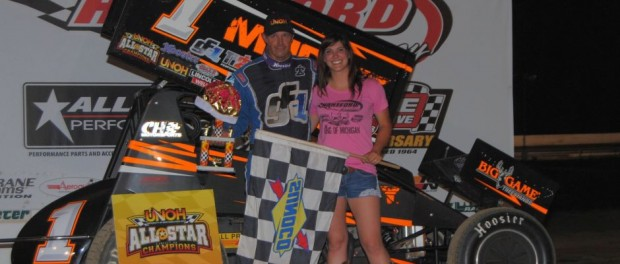 Dale Blaney in victory lane at Hartford Speedway. (T.J. Buffenbarger Photo)