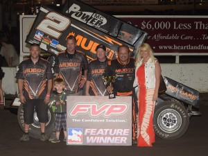 Danny Lasoski pocketed $5,000 Friday night in FVP National Sprint League action at Huset's Speedway (Rob Kocak Photo)