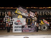 Butch Schroeder in victory lane following his win with the K&L Ready Mix National Racing Alliance in the Jimmy Johnson Classic at Eldora Speedway. (Bill Miller Photo)