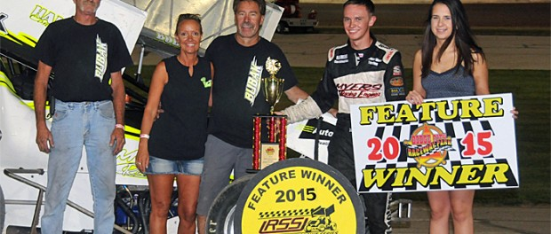 Jake Bubak in vicotry lane following his URSS feature win at Dodge City Raceway Park.  (Lonnie Wheatley Photo)
