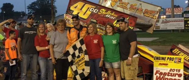 Nate Dussel in victory lane following his first career 410 sprint car victory Saturday at Fremont Speedway. (Trails End Custom Photo)