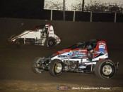C.J. Leary (#30) and Kyle Cummins (#3) racing Saturday at Tri-State Speedway. (Mark Funderburk Photo)