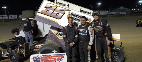 (l to r) Jared Zimbardi, Justin Barger, and Steve Collins at Little Valley Speedway. (Image courtesy of Patriot Sprint Tour)