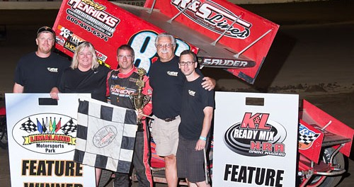 Kyle Sauder in victory lane after winning the NRA Sprint Invader feature at Limaland Motorsports Park.(Mike Campbell Photo)