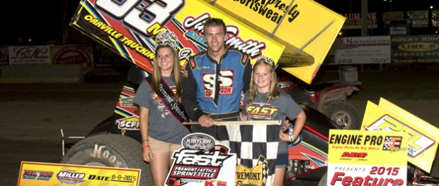 Broc Martin won the sprint feature at Fremont Speedway. (Mike Campbell Photo)