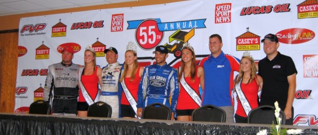 Podium finishers with the queen and her court Friday at the Knoxville Nationals. (T.J. Buffenbarger Photo)