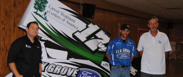 Car owner Matt Wood (left), Bryan Clauson, and David Byrd at the Circular Insanity Tour announcement on Thursday at Knoxville Raceway. (T.J. Buffenbarger Photo)a