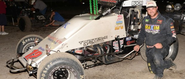 Robert Ballou following his victory on Friday at Gas City I-69 Speedway. (Bill Miller Photo)