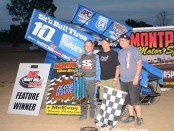 Mitch Brown with his family in victory lane Saturday at Montpelier Motor Speedway. (Bill Miller Photo)