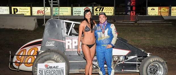 Chris Windom in victory lane following his USAC Silver Crown Series victory at Belleville, KS. (Lonnie Wheatley Photo)