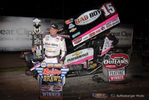 Donny Schatz in victory lane following his victory at Berlin Raceway. (T.J. Buffenbarger Photo)