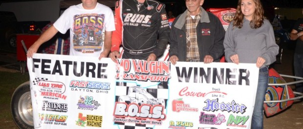 Shane Cottle and crew in Victory Lane at the Montpelier Motor Speedway. (Bill Miller Photo)