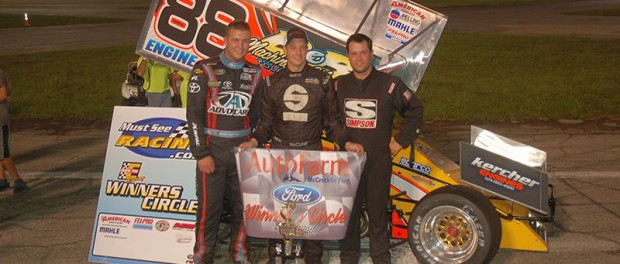 (l to r) second place Grant Galloway, winner Jimmy McCune, and third place finisher Ike Beasley. (David Sink Photo)