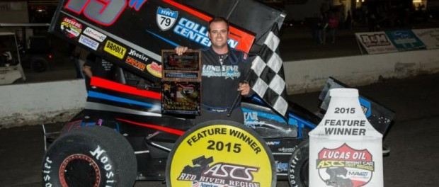 Sam Hafertepe, Jr. in victory lane following his victory at Devil's Bowl Speedway. (Patrick Grant Photo)