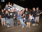 Kyle Hirst and team in victory lane. (Image courtesy of Silver Dollar Speedway)