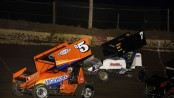 Brad Loyet (#04) racing with Joey Moughan Saturday during the MOWA Sprint car event at Jacksonville Speedway. (Mark Funderburk Photo)