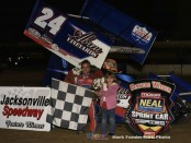 Rico Abreu in victory lane after his victory with the MOWA Sprint Car Series Friday night at Jacksonville Speedway. (Mark Funderburk Photo)