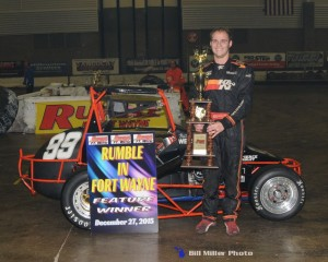 Billy Wease in Victory Lane after winning the 40 lap midget feature event at the Memorial Coliseum Expo Center. (Bill Miller Photo)