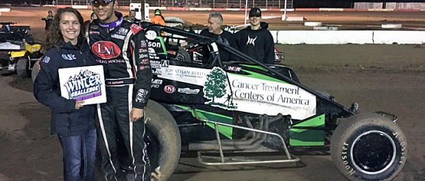 Bryan Clauson and Lauren Stewart in victory lane on Sunday at Canyon Speedway Park. (Sean Buckley Photo)