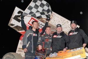 Shane Stewart with his team in victory lane. (Bobby McMorris Photo)