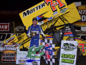 Dave Blaney in Arctic Cat All Star DIRTcar Nationals victory lane. (Chris Seelman Photo)