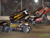 Dale Blaney (#1) racing with Chris Andrews (#73) Saturday at Attica Raceway Park. (Mike Campbell Photo)