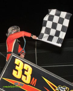 Caleb Griffith celebrating his victory Saturday night at Attica Raceway Park. (Mike Campbell Photo)