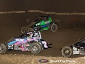 Shannon McQueen (#7) racing with Trey Marcham (#81) at Thunderbowl Raceway. (Chuck Fry Photo)