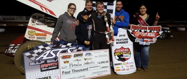 Brandon Hanks with his crew in victory lane following their feature win at Cotton Bowl Speedway. (Hulbert Photography)