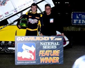 Derek Hagar in victory lane at 81 Speedway. (Image courtesy of Inside Line Promotions)