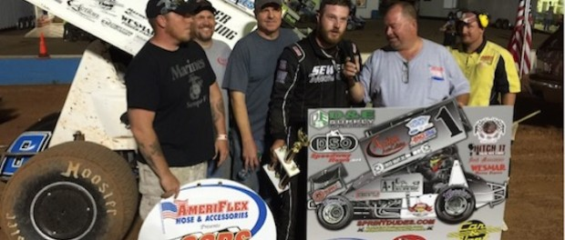 Alex Sewell in victory lane for 2nd straight week with the Oil Capital Racing Series. (John Rittenoure Photo)