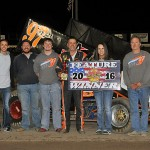 Brian Heberg and crew in victory lane following their victory at Dodge City Raceway Park. (TWC Photo)