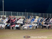 Parade lap for the World of Outlaws at Ocean Speedway. (Chuck Fry Photo)