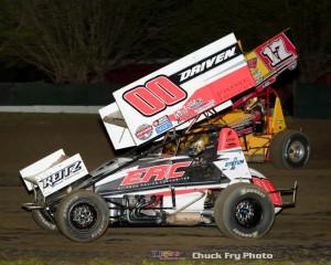 Cory Eliason (#00) racing with Justin Sanders (#17).  (Chuck Fry Photo)