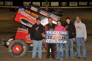 C.J. Johnson and crew in victory lane at Dodge City Raceway Park. (Lonnie Wheatley Photo)