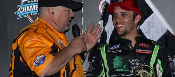 Bryan talks with Mike Roberts after winning Saturday at Knoxville (Danny Howk Photo)