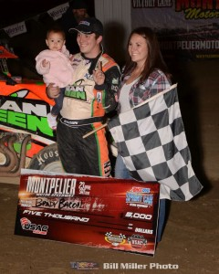 Brady Bacon in victory lane with his family following his feature win Saturday night at Montpelier Motor Speedway. (Bill Miller Photo)