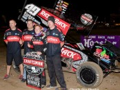 Brad Sweet with his team in victory lane Friday at Ocean Speedway with the Craftman World of Outlaws Sprint Car Series. (Chuck Fry Photo)