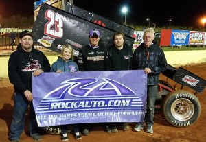 Trey Starks with his team in victory lane. (Image courtesy of USCS)